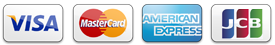 Credit card icons for Visa, Mastercard, American Express and JCB