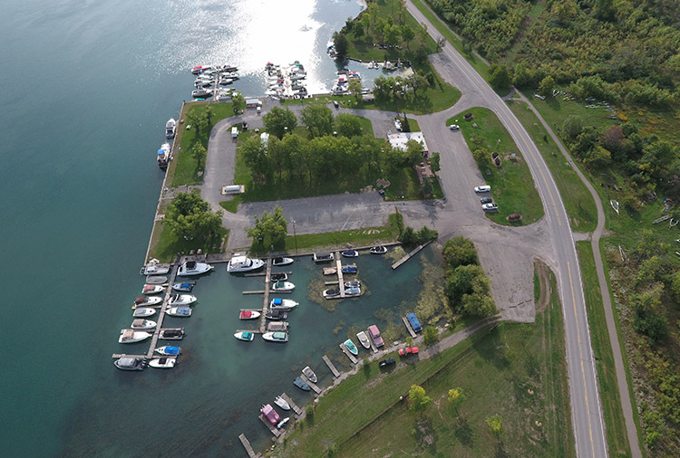 overhead shot of marina