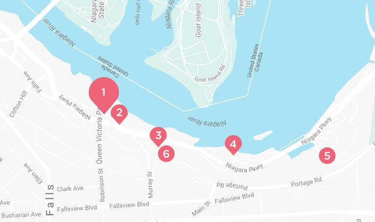 Carte de Niagara Parkway avec marqueurs