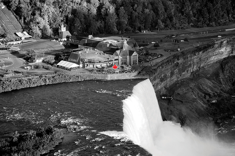 Aerial of Table Rock Centre and Horseshoe Falls