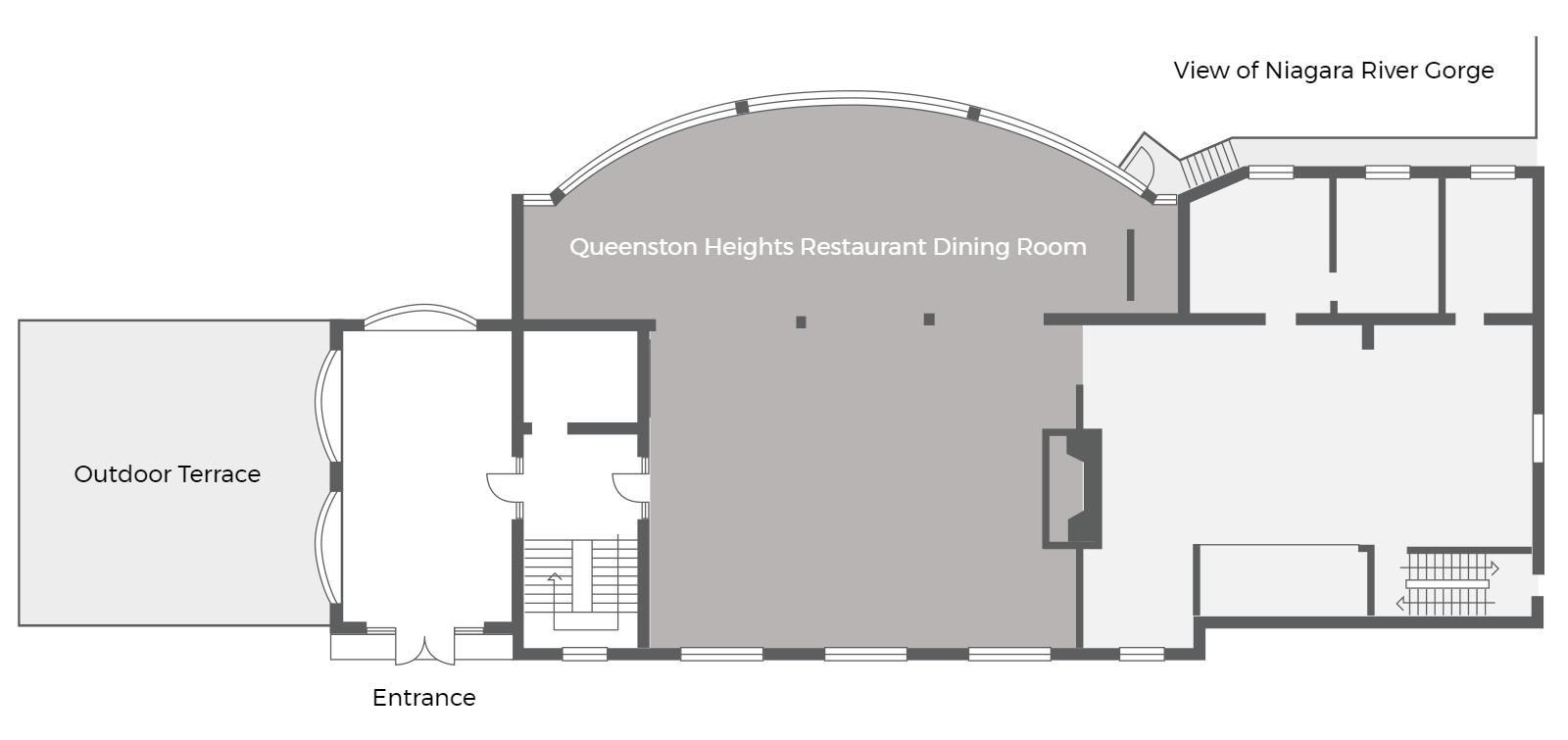 Main level floor plan of Queenston Heights Restaurant