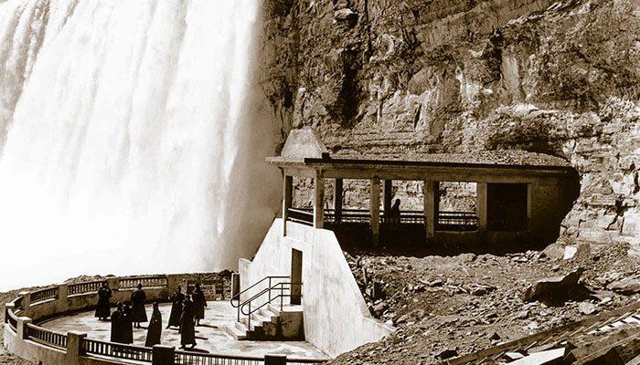 viewing platform next to large waterfall