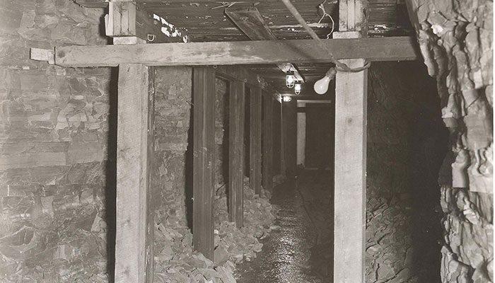 stone tunnel with wood bracing