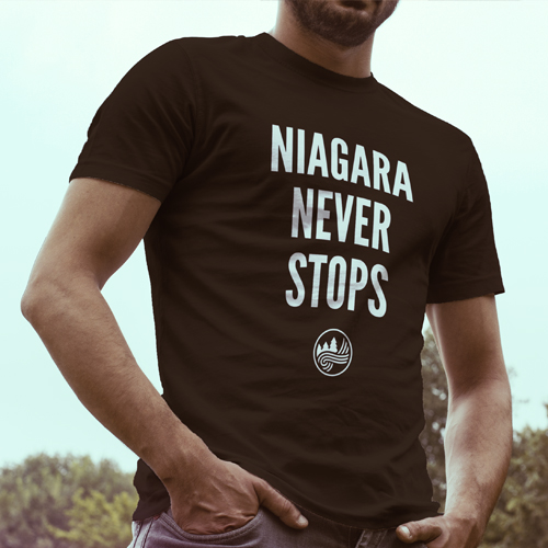 Shirt with Niagara Never Stops printed on front