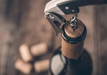 corkscrew in wine bottle
