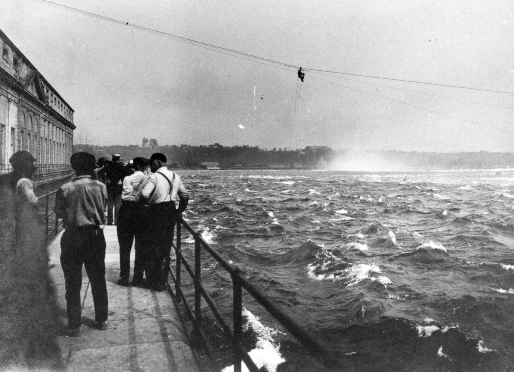 Spectators watching a dramatic rescue