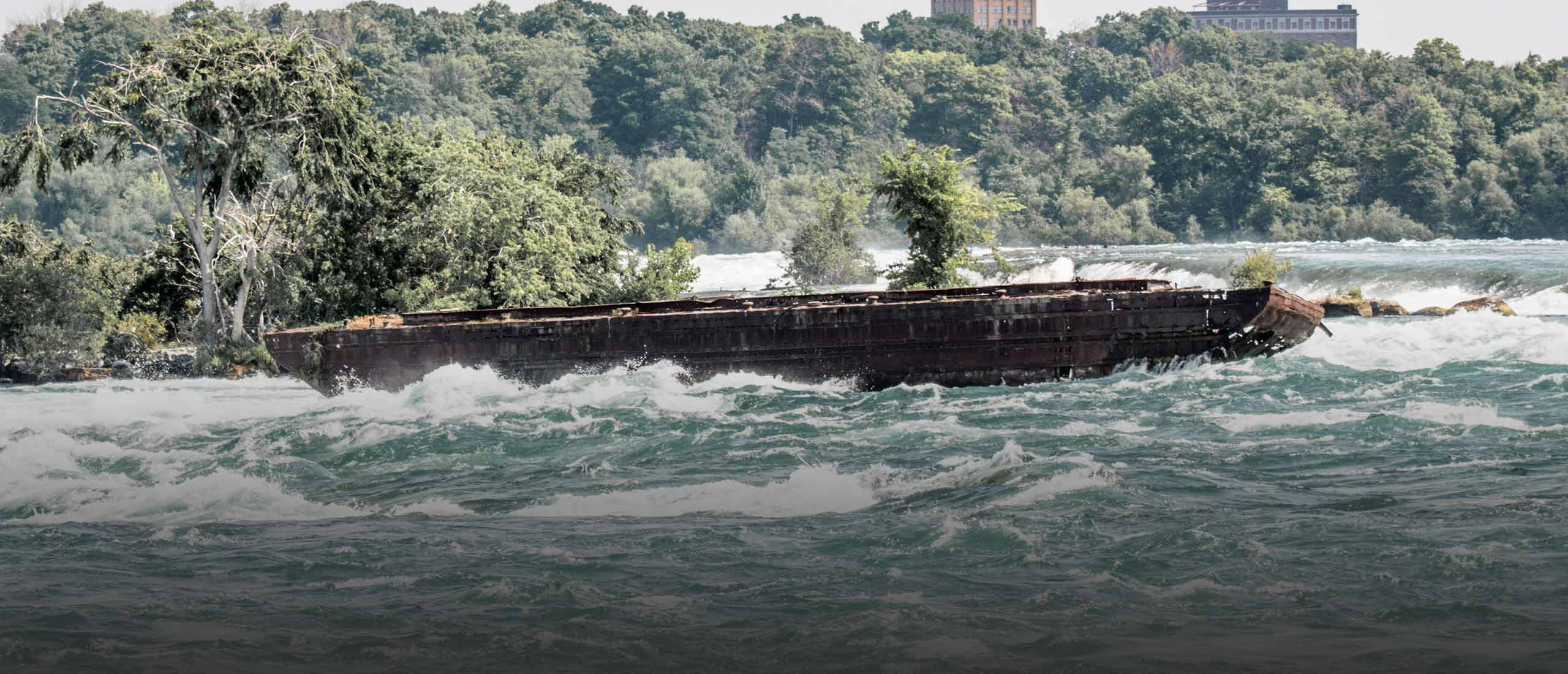 Severe Weather Conditions Impact Legendary Iron Scow Lodged in Niagara River