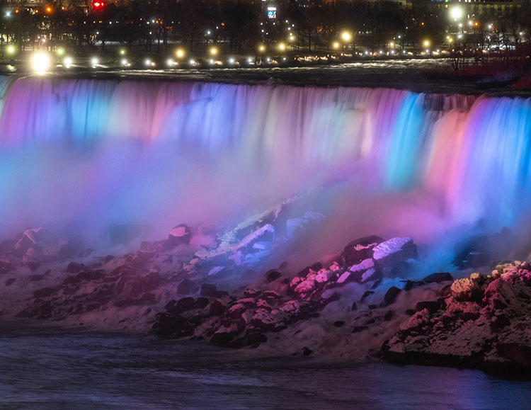 American Falls illuminated in the winter