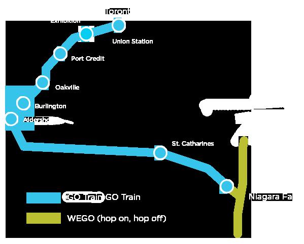 Map of seasonal service from Toronto to Niagara